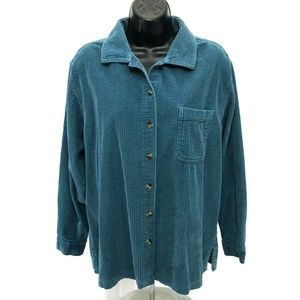 LL Bean Wide Wale Corduroy Shirt Womens L Large
